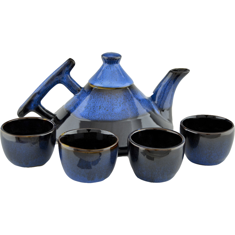 Non pattern glazed deco teapot with cups always azul pottery - Object deco wc ...